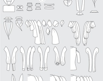 Collars, necklines and sleeves vectorized