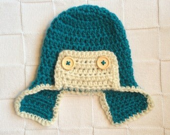 Baby Boy Aviator Hat, Ear Flap Hat, Crochet Hat , Winter Hat, Aviator Beanie, Photo Prop