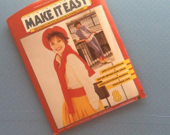 Vintage Sewing Pattern - Make It Easy 8 - Retro 1984 Dressmaking Pattern - Blouse Shirt Skirt Sewing Pattern - Multi Size Pattern Sewing