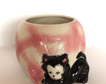 Black Cat Pink and White Planter