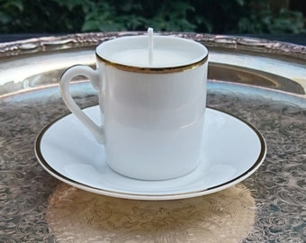 Unscented Soy Tiny Teacup Candle - white and gold - dye free, scent free - made in Portland, Oregon