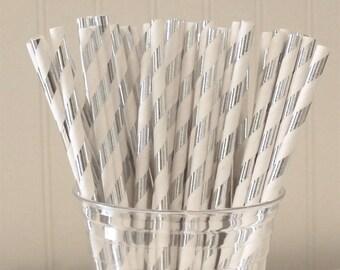 Paper Straws, 25 SILVER FOIL METALLIC Striped Paper Straws, Silver Striped Straws, Shinny Silver Foil Straws,  Wedding Paper Straws, Baby