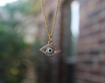 Evil eye necklace,gold evil eye,evil eye charm,evil eye,rhinestone evil eye