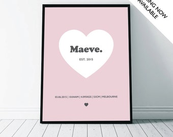 Birth Details Heart Personalised Wall Art Print | A4/A3/A2