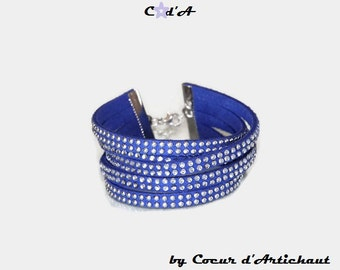 Blue rhinestone Cuff Bracelet