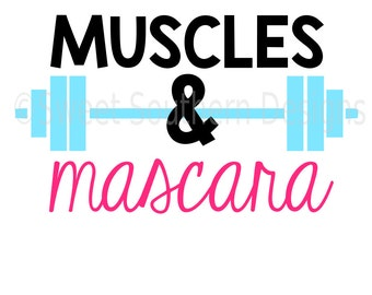 Muscles and mascara barbell crossfit weights SVG instant download design for cricut or silhouette