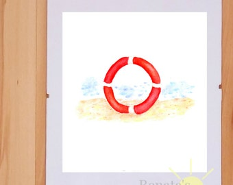 Summer sea life ring Beach wall art Watercolor printable Digital print Home decor summer beach house Renata's Sunny Studio 7 1/2 x 8 ID2-88