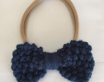 Small Navy Blue Bow Headband