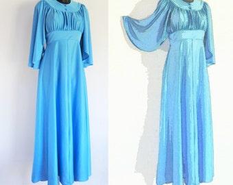 Vintage 1970's Boho Azure Blue Maxi Dress, Boho, Alternative Wedding Dress, UK12, US8