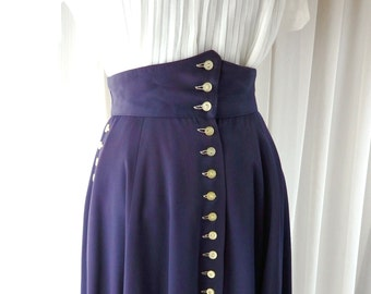 1970s does 1940s rayon gabardine skirt /70s 40s style high waisted skirt / navy blue with yellow buttons xs