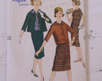 Vintage 60's Vogue 1628 Jacket, Skirt and Blouse Sewing Pattern Size 14 Bust 34