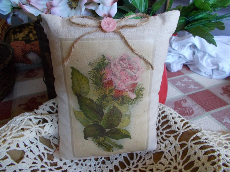 pink rose pillow tuck decorative pillow by ThePrimitiveRose