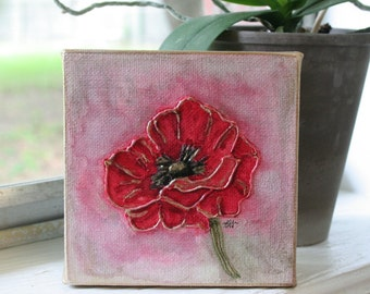 Poppy Painting | 4x4 Canvas