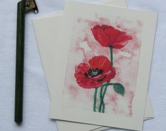 Red Poppy Card | Watercolor Flower