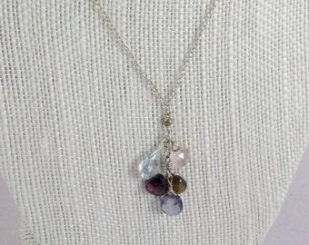 Sapphire Blue Topaz Rose Quartz & Tourmaline Sterling Silver Y Necklace