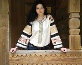 Thread Embroidered Women's Shirt White Blouse Ukrainian Vyshyvanka Folk embroidery Ethnic Bogo dress Long sleeve