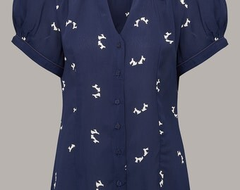 40's Inspired 'Judy' Blouse available in Navy Doggy Print