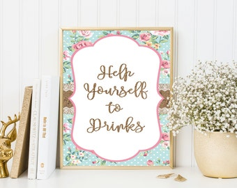 Shabby Chic Baby shower sign, Help yourself drinks,Shower drinks sign,Drink table sign,Printable Sign,Baby shower decor,Drink party sign, SH