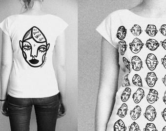 Women's face pattern t-shirt
