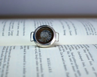 Ammonite ring, fossil ring, quirky ring, handmade silver ring, upcycled ring, size R ring
