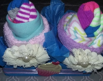 Baby Girl or Boy Onesie Cupcake Set