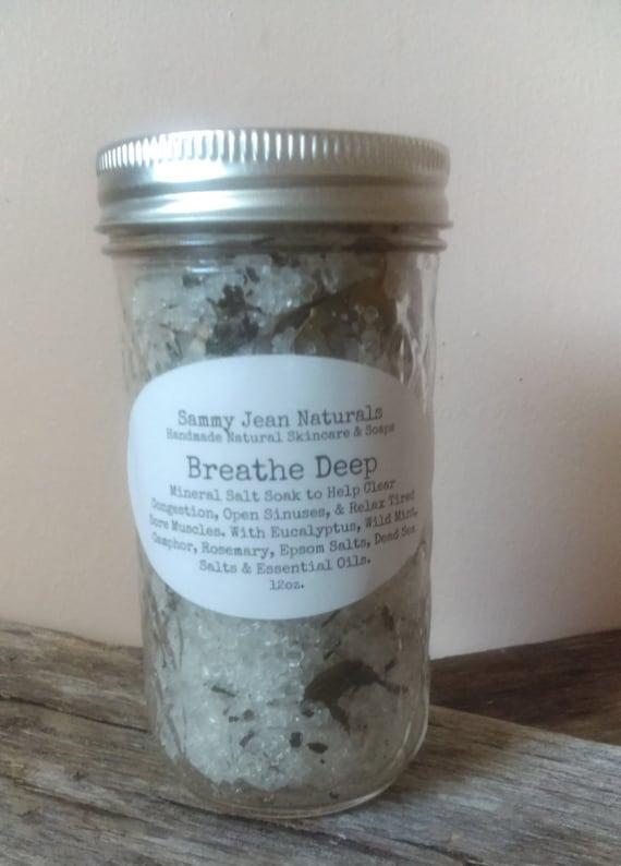 Breathe Deep Mineral Salt Soak/Bath Salts/Congestion Relief/Sinus Relief/Eucaplytus/Peppermint/Camphor/Wild Mint/Rosemary
