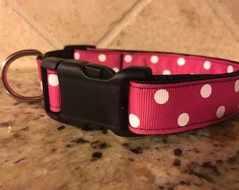 """1"""" Medium Pink Polka Dots"""