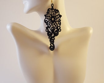 Black lace earrings Lace jewelry Statement earrings Womens Fashion Lace earrings Long earrings Drop earrings Dangle earrings