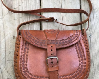 1970s Hand Tooled Leather Shoulder or Cross Body Purse