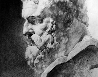 Portrait plaster head of Hercules