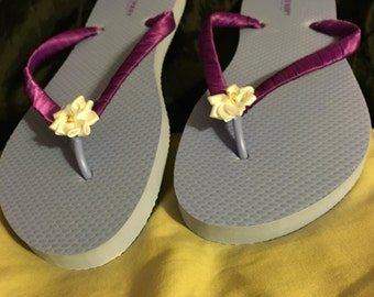 Purple-Lilac Flower Flip flops
