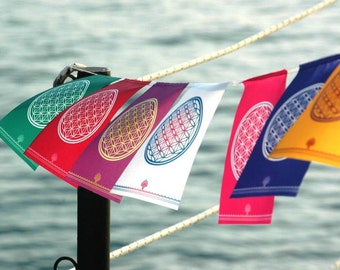 FLOWER OF LIFE 7colors Sacred geometry prayer flag Banner Wall Tapestry Spiritual Yoga Mindful Meditation Gift Art Healing decor mindfulness