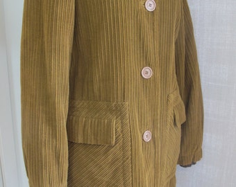 Marc Jacobs Vintage Cotton Wide Wale Brown Corduroy Coat with Big Buttons