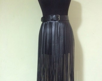 Skirt fringe,belt fringe,leather skirt fringe, long black leather fringe belt