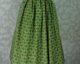 """Green floral pocket skirt 31""""~32"""""""