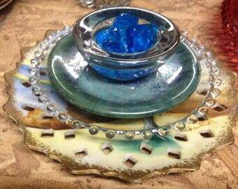 Upcycled Garden Plate Flower, Garden Art, Garden Art Decor, Yard Art, Blue, Clear, fire stones and Vintage Glass
