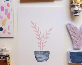 House Plant - Original Block Print