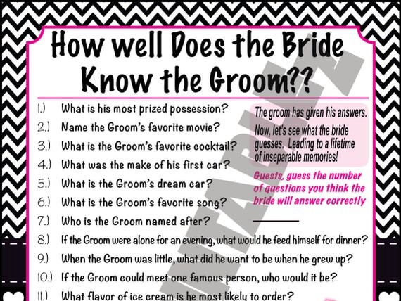 How Well Does The Bride Know The Groom Printable By