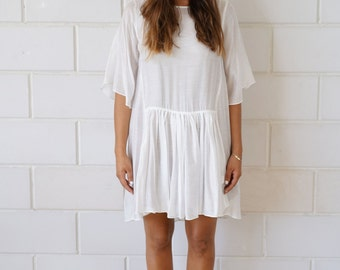 White Dress | See through Dress | Sleeves Dress | Flowing Dress | Chemise | Loos fit | Oversize Dress | Women Dress