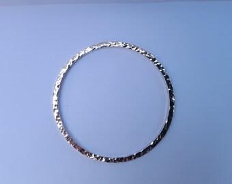 Handmade Sterling Silver Hammered Bangle
