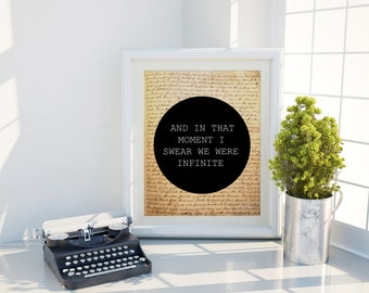 And in that moment i swear we were infinite inspirational words perks of being a wallflower we are infinite best words gift for her BOOK ART