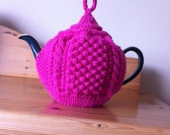 Handknitted Pink Aran Pattern Tea Cosy, Pink Aran Tea Cozy, Handknitted Teapot Cosy
