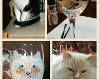 Hand painted cat wine glasses.