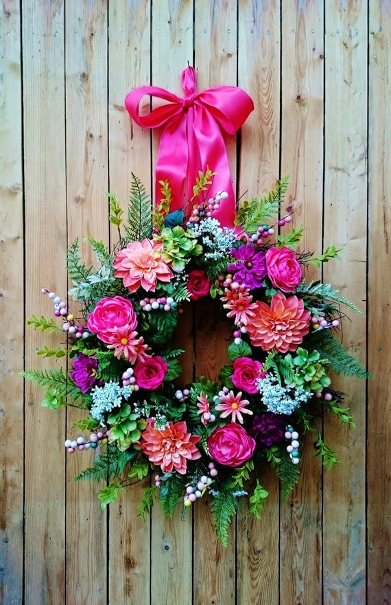 Lg bright spring summer grapevine wreath lg colorful front for Colorful summer wreaths