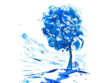 Tree with Shadow - Original Abstract Painting