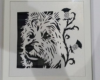 West Highland Terrier Papercut with Thistles