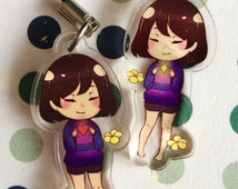 "1.5"" UNDERTALE Frisk ""Save and Determination"" Acrylic Charms (double sided)"