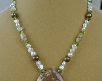 """Necklace - 17"""" Rainforest Jasper with Peridot and Freshwater Pearl Necklace"""