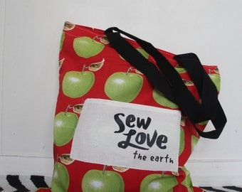 Sew Love The Earth Tote Bag with APPLES