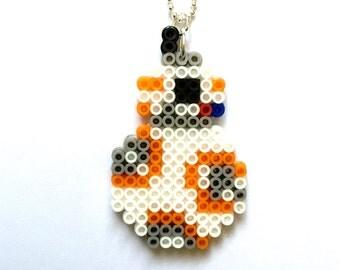 BB-8 Perler Bead Necklace, Perler Bead, Pixel Jewelry, Star Wars, BB-8, 8 bit, 8 bit Jewelry, Pixel, Gamer, Retro, Perler, 8 Bit Necklace